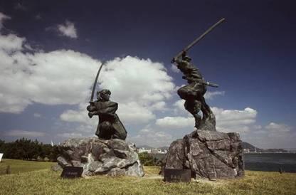 Monument pour Musashi sur l'île de Funa.